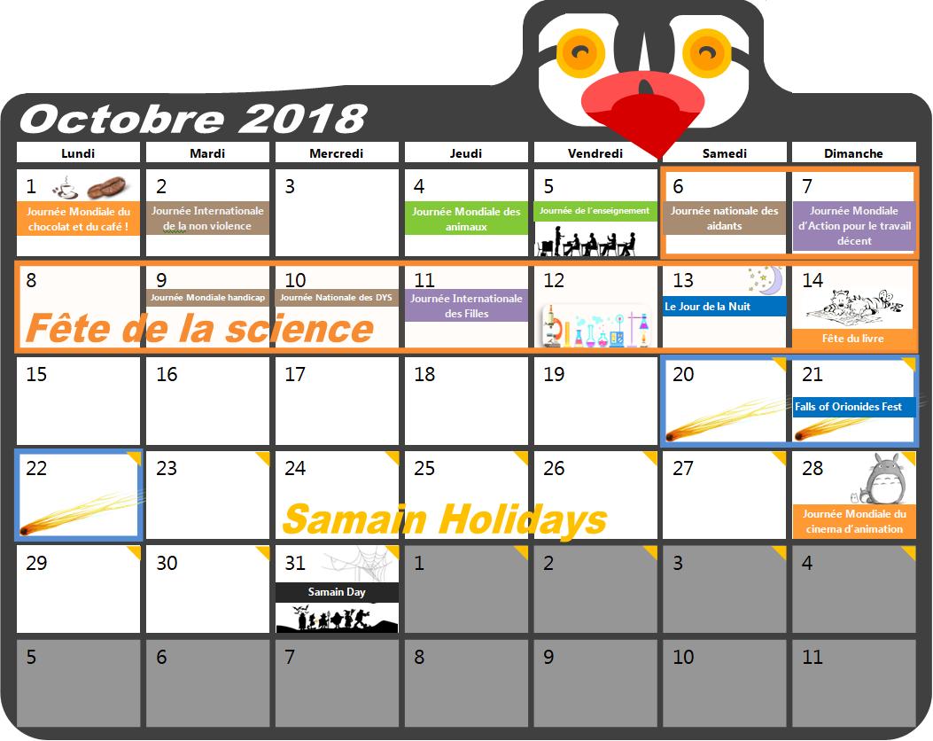 2018 Octobre Agenda